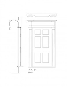 Line art of Joshua R Giddings law office interior door casing featuring panel molds, column detail, and cornice mouldings.