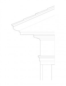 Line art of Joshua R Giddings law office exterior cornice featuring column detail.