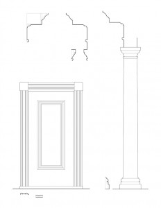 Line art of Frederick Kinsman Office door featuring column and cornice mouldings, and door panel molds.