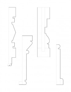 Line art of Frederick Kinsman Office mix of moulding profiles.