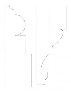 Line art of Frederick Kinsman Office column moulding profiles.