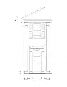 Line art of Lew Lawyer House windows with shutters, cornice mouldings, and door casing with panel molds, and column detail.