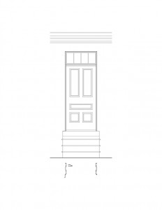 Line art of Lewis House featuring door casing mouldings, panel molds, and wall design.