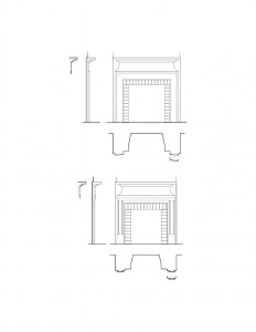 Line art of Lewis House featuring two fireplace mantels with cornice mouldings, mantel mouldings, and panel molds.