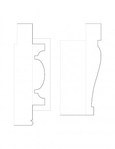 A couple line art drawings of Lewis House moulding profiles.