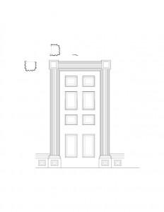 Line art of Martin House interior door, with door panel molds, column detail, and cornice mouldings.