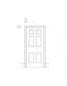 Line art of Martin House interior door featuring panel molds.