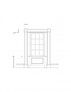 Line art of Martin House interior window featuring window casing, window panel molds, and interior cornice mouldings.