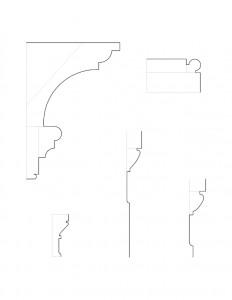 Line art of multiple Martin House moulding profiles.
