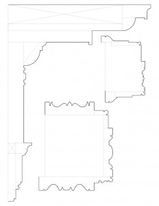 Line art of multiple Martin House moulding profiles featuring cornice moulding profiles.