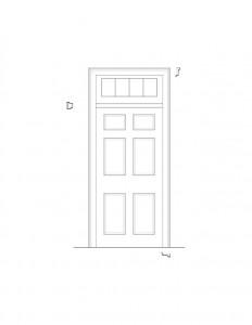 Line art of Matt Gray House interior door featuring panel molds.
