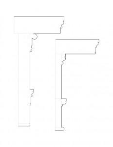 A couple line art drawings of Matt Gray House cornice moulding profiles.
