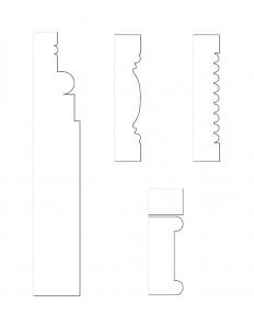 Several line art drawings of Matt Gray House moulding profiles.