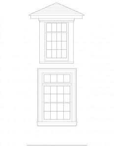 Line art of Matt Gray House windows with window sill, and window casing.