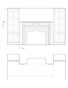 Line art of Matt Gray House interior fireplace featuring fireplace mantel molds, and wall panel molds.