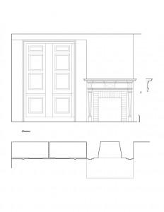 Line art of Matt Gray House interior fireplace featuring fireplace mantel molds, column detail, and wall panel molds.