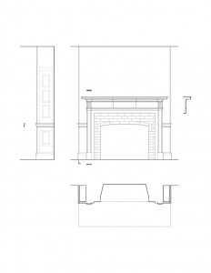 Line art of Matt Gray House interior fireplace featuring fireplace mantel molds, column detail, cornice mouldings, and wall panel molds.