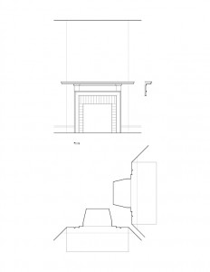 Line art of Matt Gray House interior fireplace featuring fireplace mantel molds, column detail, cornice mouldings, and moulding profile.