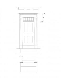 Line art of Meriman Cook House exterior door featuring panel molds, window casing, column detail, and cornice mouldings.