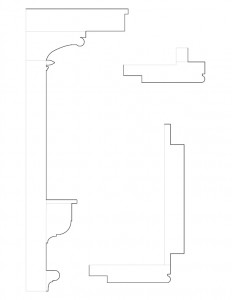 Line art of Meriman Cook House moulding profiles.