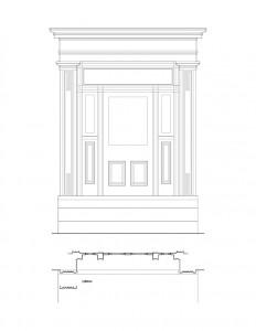 Line art of Moore Brewster House exterior door featuring door casing, panel molds, window casing, and cornice mouldings.