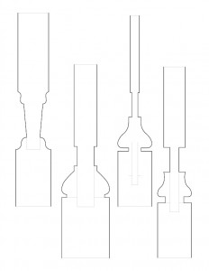 Many line art drawings of Moore Brewster House baluster moulding profiles.