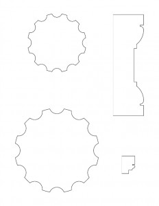 Line art drawings of Moore Brewster House newel post cap moulding profiles.