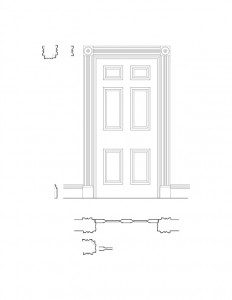 Line art of Moore Brewster House interior door featuring panel molds, interior cornice mouldings, baseboard mouldings, and trim molds.