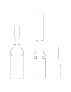 Several line art drawings of Moore Brewster House baluster moulding profiles.