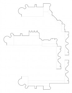 Line art of several Moore Brewster House moulding profiles.