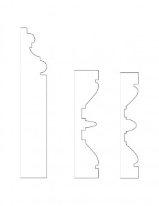 Several line art sketches of the Moore Brewster House moulding profiles.