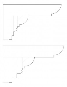 A couple line art drawings of Moore Brewster House cornice moulding profiles.