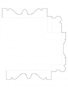 Single line art of Moore Brewster House moulding profile.
