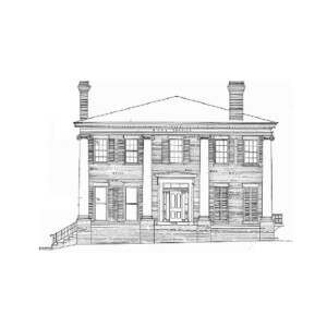 Line art of Moore Brewster House featuring a full covered porch with columns, tall windows with shutters, shingle siding, and steps to entrance.