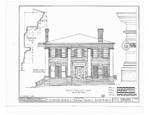 Blueprint of Moore Brewster House east elevation featuring full covered porch with columns, tall windows with shutters, and shingle siding.