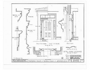 Blueprint of Moore Brewster House main entrance featuring half interior, and half exterior.