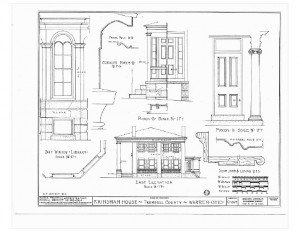 Blueprint of Moore Brewster House east elevation featuring porch with column.