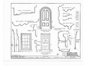 Blueprint of Moore Brewster House first floor door, and second floor door, with both doors featuring panel molds and trim.