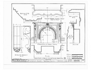 Blueprint of Moore Brewster House fireplace featuring mantel mouldings with details of brackets, marble mantel shelf, and beautiful ornaments.