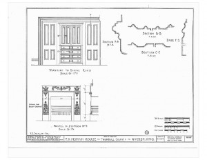 Blueprint of Moore Brewster House wardrobe in dining room, featuring fireplace mantel in bedroom.