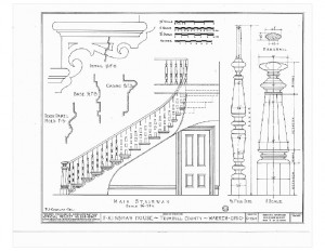 Blueprint of Moore Brewster House staircase featuring balusters, newel posts with cap, and ornament decorations.