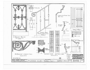 Blueprint of Moore Brewster House balusters, featuring window shutters, and other mouldings.