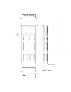 Line art of Moore Brewster House interior door featuring interior cornice, window casings, and panel molds.
