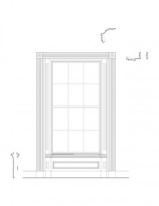 Line art of Moore Brewster House interior window featuring window casing, panel molds, and interior cornices.