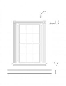 Line art of Moore Brewster House interior window featuring window casing, window trim, and interior cornices.