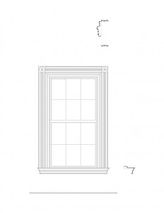 Line art of Moore Brewster House interior window featuring window trim, and interior cornices.