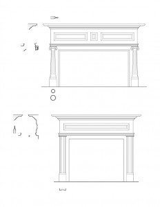 Line art of two Moore Brewster House fireplace mantels featuring fireplace mantel mouldings, cornice mouldings, and column detail on one mantel.