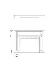 Line art of Peter Allen House fireplace featuring fireplace mantel mouldings, brick outer layer, and panel molds.