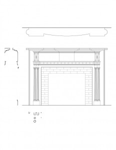 Line art of Peter Allen House fireplace featuring mantel mouldings, panel molds, ornament decoration, and column detail on fireplace mantel.