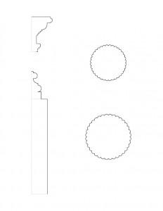 Line art of Peter Allen House moulding profiles.